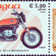 "图库照片: NICARAGU- CIRC1985: stamp printed in Nicaragufrom ""Centenary of Motorcycle"" issue shows BMW R65, 1984, circ1985."
