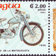 "Stock Photo: NICARAGU- CIRC1985: stamp printed in Nicaragufrom ""Centenary of Motorcycle"" issue shows Wanderer 98 M 1 Sport, 1939, circ1985."