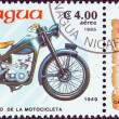 "NICARAGUA - CIRCA 1985: A stamp printed in Nicaragua from the ""Centenary of Motorcycle"" issue shows a Honda Dream D-Type, 1949, circa 1985. — Stock Photo"