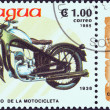 "图库照片: NICARAGU- CIRC1985: stamp printed in Nicaragufrom ""Centenary of Motorcycle"" issue shows Puch, 1938, circ1985."