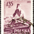 "POLAND - CIRCA 1955: A stamp printed in Poland from the ""2nd International Games"" issue shows sculling, circa 1955. — Stock Photo"