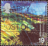 "UNITED KINGDOM - CIRCA 1999: A stamp printed in United Kingdom from the ""Millennium Series"" issue shows The Farmers' Tale, Upland Landscape (Strip Farming), circa 1999. — Stock Photo"