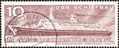 "GERMAN DEMOCRATIC REPUBLIC - CIRCA 1971: A stamp printed in Germany from the ""East German Shipbuilding Industry"" issue shows liner Ivan Franko, circa 1971. — Stock Photo"