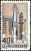 "CZECHOSLOVAKIA - CIRCA 1962: A stamp printed in Czechoslovakia from the ""Space Research (2nd series)"" issue shows launching of Soviet rocket, circa 1962. — Stock Photo"