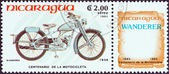 "NICARAGUA - CIRCA 1985: A stamp printed in Nicaragua from the ""Centenary of Motorcycle"" issue shows a Wanderer 98 M 1 Sport, 1939, circa 1985. — Stock Photo"