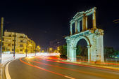 Arch of Hadrian at night, Athens, Greece — Stock Photo