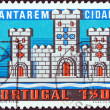 PORTUGAL - CIRCA 1970: A stamp printed in Portugal issued for the Centenary of City of Santarem shows Castle from arms of Santarem, circa 1970. — Stock Photo