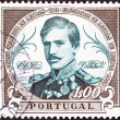 "PORTUGAL - CIRC1961: stamp printed in Portugal from ""Centenary of founding of Faculty of Letters, Lisbon University"" issue shows King Pedro V, circ1961. — Stock Photo #32763439"