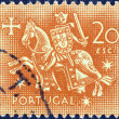 PORTUGAL - CIRCA 1953: A stamp printed in Portugal shows the Equestrian Seal of King Diniz, circa 1953.  — Stock Photo