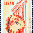 LEBANON - CIRCA 1955: A stamp printed in Lebanon shows Temple of Jupiter, Baalbek and globe, circa 1955. — Stock Photo