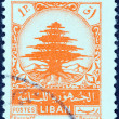 Stock Photo: LEBANON - CIRC1948: stamp printed in Lebanon shows Cedar of Lebanon, circ1948.