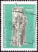 "PORTUGAL - CIRCA 1969: A stamp printed in Portugal from the ""Bicentenary of San Diego, California"" issue shows navigator and colonizer Juan Rodriguez Cabrillo, circa 1969. — Stock Photo"
