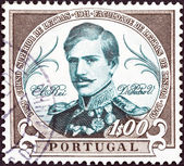 "PORTUGAL - CIRCA 1961: A stamp printed in Portugal from the ""Centenary of the founding of the Faculty of Letters, Lisbon University"" issue shows King Pedro V, circa 1961. — Stock Photo"