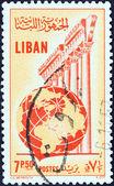LEBANON - CIRCA 1955: A stamp printed in Lebanon shows Temple of Jupiter, Baalbek and globe, circa 1955. — Stock Photo