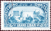 LEBANON - CIRCA 1925: A stamp printed in Lebanon shows Roman ruins, Baalbek, circa 1925. — Stock Photo