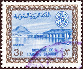 SAUDI ARABIA - CIRCA 1960: A stamp printed in Saudi Arabia shows Wadi Hanifa Dam, near Riyadh, circa 1960. — Stock Photo