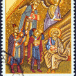 "GREECE - CIRCA 1970: A stamp printed in Greece from the ""Christmas. Scenes from the Mosaic of the Nativity, Hosios Loukas Monastery."" issue shows the three magi, circa 1970. — Stock Photo"