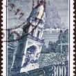 "GREECE - CIRCA 1953: A stamp printed in Greece from the ""Ionian islands earthquake fund"" issue shows Church of Faneromeni, Zakynthos, circa 1953. — Stock Photo"