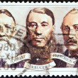 SOUTH AFRICA - CIRCA 1980: A stamp printed in South Africa issued for the Centenary of Paardekraal Monument shows Joubert, Kruger and Pretorius (Triumvirate Government), circa 1980. — Stock Photo