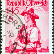 """AUSTRIA - CIRCA 1948: A stamp printed in Austria from the """"Provincial Costumes"""" issue shows a woman from Wilter bei Innsbruck, circa 1948. — Stock Photo"""