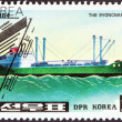 "NORTH KOREA - CIRCA 1984: A stamp printed in North Korea from the ""Container Ships"" issue shows Ryongnamsan, circa 1984. — Stock Photo #33988529"