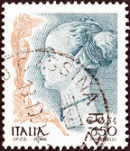 """ITALY - CIRCA 1998: A stamp printed in Italy from the """"Women in Art"""" issue shows Profile of a Woman (Antonio del Pollaiuolo), circa 1998. — Stock Photo"""