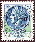 "ITALY - CIRCA 1968: A stamp printed in Italy from the ""Italy turreted (Syracuse)"" issue shows an Ancient coin of Syracuse, circa 1968. — Stock Photo"