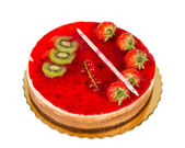 Strawberry cake with jelly topping and figs, isolated — Stock Photo