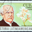 "CUBA - CIRCA 1989: A stamp printed in Cuba from the ""Latin American History (4th series)"" issue shows Domingo F. Sarmiento and Govenia utriculata (Argentina), circa 1989. — Stock Photo"