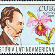"CUBA - CIRCA 1989: A stamp printed in Cuba from the ""Latin American History (4th series)"" issue shows Jorge Isaacs and Cattleya trianae (Colombia), circa 1989. — Stock Photo"