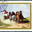 HUNGARY - CIRCA 1979: A stamp printed in Hungary from the Animal Paintings issue shows Coach and Five (Karoly Lotz), circa 1979. — Stock Photo