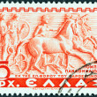 GREECE - CIRCA 1937: A stamp printed in Greece shows Panathenaic chariot, Parthenon frieze, circa 1937.  — Stock Photo
