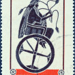 GREECE - CIRCA 1973: A stamp printed in Greece issued for the 5th Symposium of the European Conference of Transport Ministers, Athens, shows Triptolemus holding wheat on chariot., circa 1973. — Stock Photo #34648463