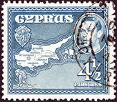 CYPRUS - CIRCA 1938: A stamp printed in Cyprus shows Map of Cyprus, circa 1938. — Stock Photo