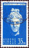 CYPRUS - CIRCA 1962: A stamp printed in Cyprus shows head of goddess Aphrodite, circa 1962. — Stock Photo
