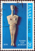 "GREECE - CIRCA 1979: A stamp printed in Greece from the ""Aegean art"" issue shows Cycladic Figure from Amorgos island, circa 1979. — Stock Photo"
