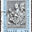 ITALY - CIRCA 1973: A stamp printed in Italy from the Christmas. Sculptures by Agostino di Duccio  issue shows Virgin and Child, circa 1973.  — Stock Photo