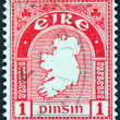 IRELAND - CIRCA 1922: A stamp printed in Ireland shows Map of Ireland, circa 1922. — Stock Photo