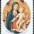 "SAINT LUCIA - CIRCA 1977: A stamp printed in Saint Lucia from the ""Christmas "" issue shows Perugia triptych (Fra Angelico), circa 1977. — Stock Photo"