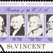 "SAINT VINCENT - CIRCA 1975: A stamp printed in Saint Vincent from the ""Bicentenary of American Revolution "" issue shows USA presidents Washington, Adams, Jefferson and Madison, circa 1975. — Stock Photo"