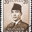 INDONESIA - CIRCA 1951: A stamp printed in Indonesia shows President Sukarno, circa 1951.  — Stock Photo