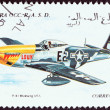 WESTERN SAHARA - CIRCA 1995: A stamp printed in Western Sahara shows a P-51 Mustang aircraft, USA, circa 1995.  — Stock Photo