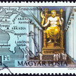 "HUNGARY - CIRCA 1980: A stamp printed in Hungary from the ""Seven Wonders of the Ancient World "" issue shows the Statue of Zeus, Olympia, circa 1980. — Stock Photo #35895541"