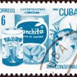 "CUBA - CIRCA 1982: A stamp printed in Cuba from the ""Exports"" issue shows tinned fruit (canned food), circa 1982. — Stock Photo"