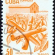 CUBA - CIRCA 1982: A stamp printed in Cuba from the Exports issue shows cigars (tobacco), circa 1982.  — Stock Photo