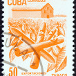 "CUBA - CIRCA 1982: A stamp printed in Cuba from the ""Exports"" issue shows cigars (tobacco), circa 1982. — Stock Photo"