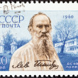 Постер, плакат: USSR CIRCA 1960: A stamp printed in USSR issued for the 50th death anniversary of Leo Tolstoy shows writer Leo Tolstoy and his country estate circa 1960