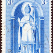 IRELAND - CIRCA 1961: A stamp printed in Ireland issued for the 15th death centenary of St. Patrick shows Saint Patrick, circa 1961. — Stock Photo