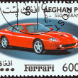 AFGHANISTAN - CIRCA 1999: A stamp printed in Afghanistan from the Ferrari Automobiles  issue shows a Ferrari 550 Maranello, circa 1999.  — Stock Photo