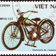"VIETNAM - CIRCA 1985: A stamp printed in North Vietnam from the ""Centenary of Motorcycle "" issue shows a Simplex, U.S.A., 1935, circa 1985. — Stock Photo"